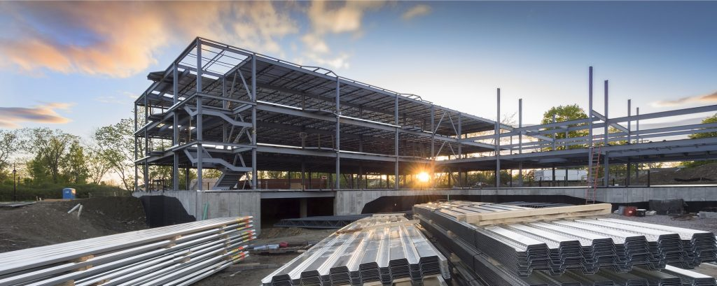 A steel structure under construction.