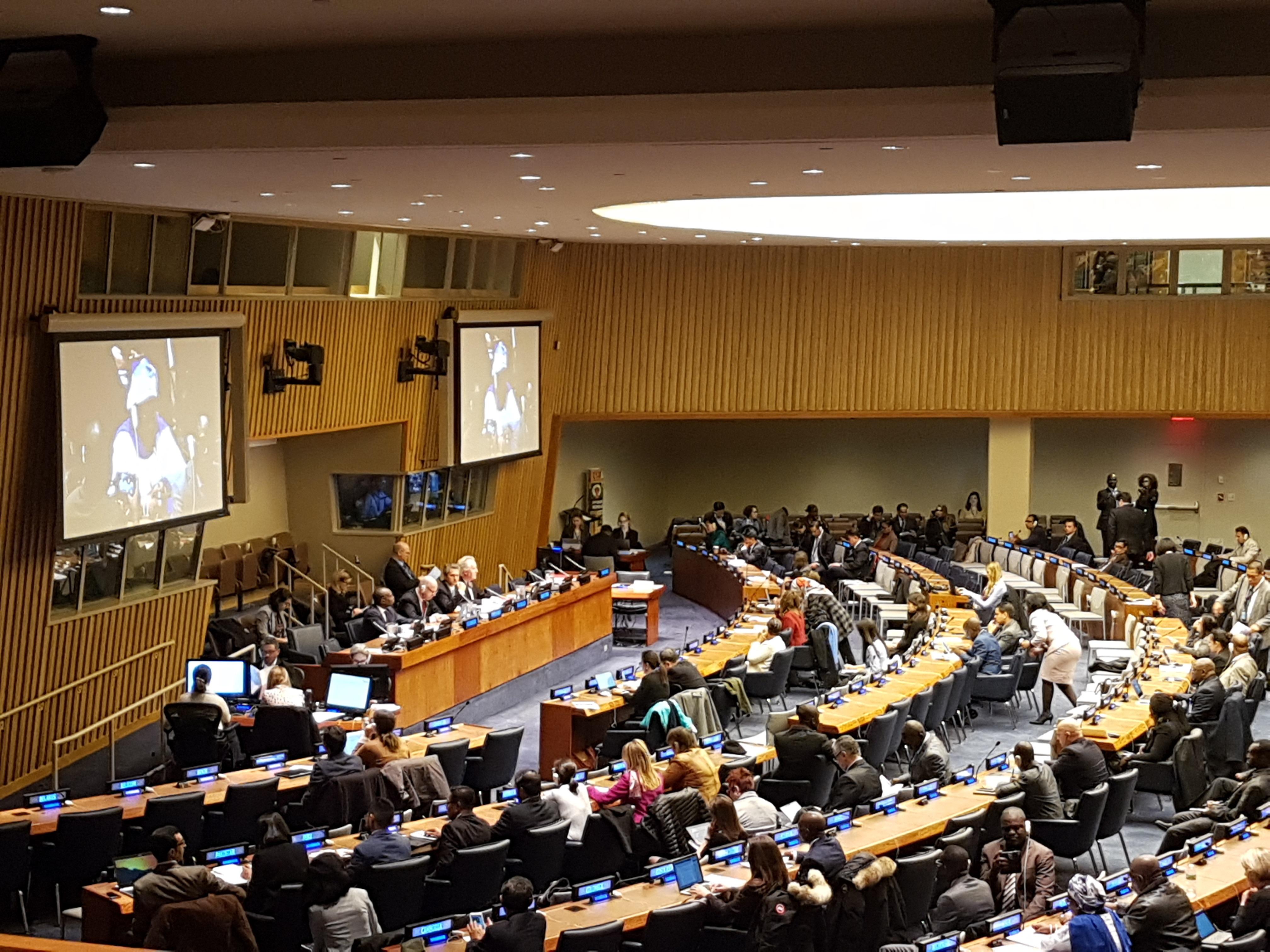 11일 뉴욕에서 열린 제51차 UN 인구개발위원회에서 많은 사람들이 있는 와중 의장이 포스코 스틸빌리지 사례 등 공식의견서를 소개하고 있다.