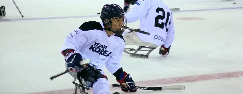 파라 장애인아이스하키 경기 모습 .