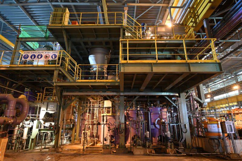 PosLX 공장 내에 위치한 수산화리튬 생산라인 전경