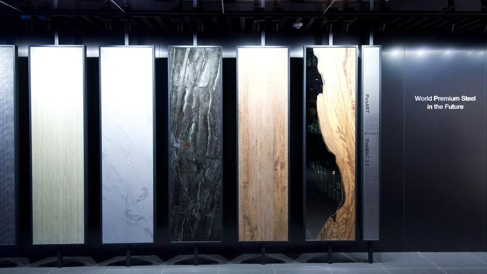 """키네틱과 미디어아트 활용, 제품종합전시관 """"Steel Gallery"""" 사진 world premium steel in the future posart posmac 3.0"""